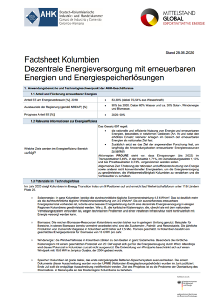 Technologie-Factsheet Kolumbien 2020