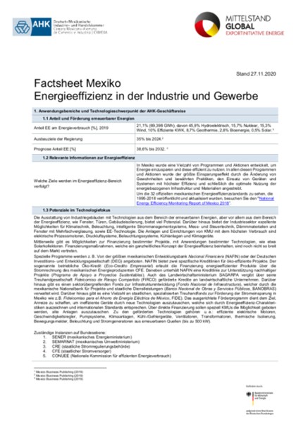 Factsheet Mexiko Industrieeffizienz