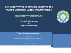 Self Supply with Renewable Energy in NESI (Nigeria Electricity Supply Industry) - Regulatory Perspectives