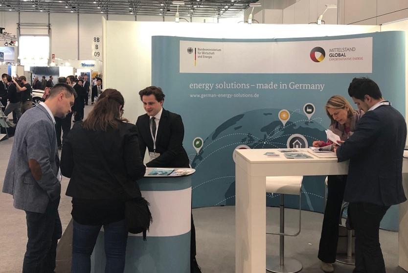 Infostand der Exportinitiative Energie bei der ENERGY STORAGE EUROPE 2019