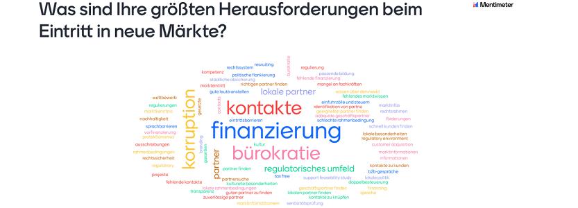 Umfrageergebnis: Herausforderungen beim Markteintritt im Ausland