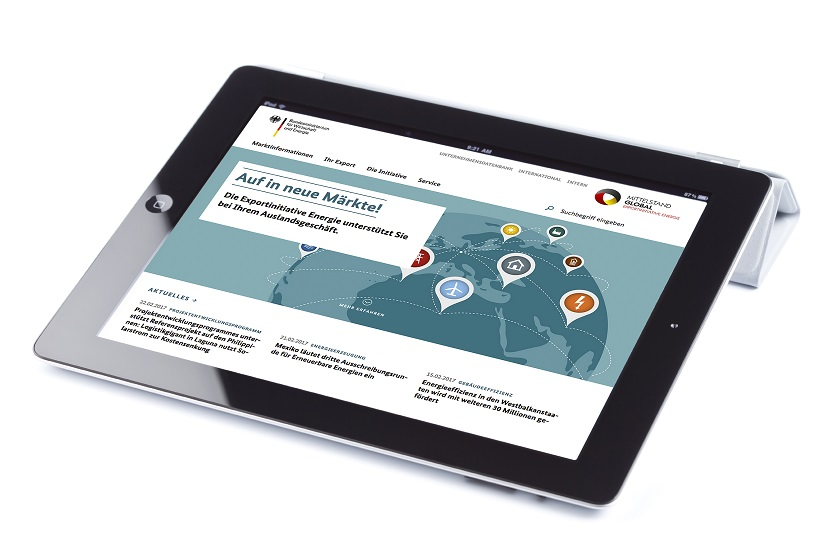 Webseite der Exportinitiative Energie