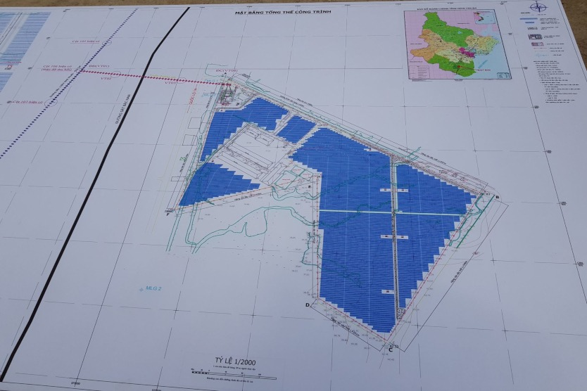 The blueprint is showing the dimensions of a phase of the solar park.